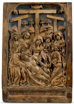 SOUTHERN NETHERLANDISH, EARLY 16TH CENTURY   PAIR OF RELIEFS WITH THE LAMENTATION AND THE RESURRECTION