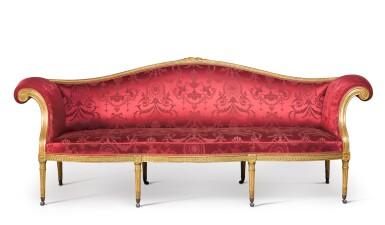 View 1. Thumbnail of Lot 47. A George III giltwood sofa by B. Harmer, circa 1785.