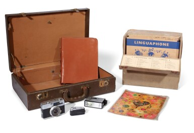 View 1. Thumbnail of Lot 13. THE BEATLES   Ronson cigarette lighter; Petri Half 7 Camera & Solid State DC3 Flash; leather writing case & small case.