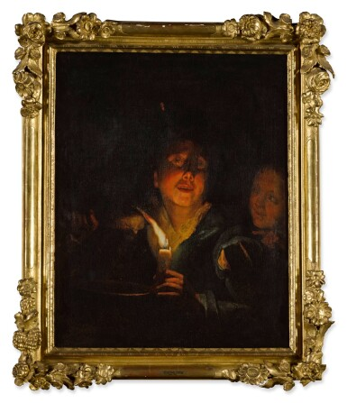 View 3. Thumbnail of Lot 70. A young man eating porridge before a candle, with a girl in the background.
