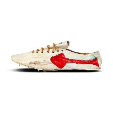 View 3. Thumbnail of Lot 8. Bill Bowerman (Nike Co-Founder) Handmade Prototype Logo Track Spikes With Waffle Sole.
