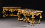 A MATCHED PAIR OF NEAPOLITAN PIETRE DURE AND MARBLE TOPS LATE 17TH CENTURY, ON EARLY LOUIS XV STYLE CARVED GILTWOOD CONSOLE TABLES