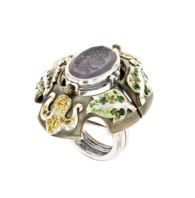 Elie Top, Gem-Set, Diamond And Chalcedony Ring [Bague Diamants, Pierres De Couleur Et Calcédoine], 'Air De Printemps'