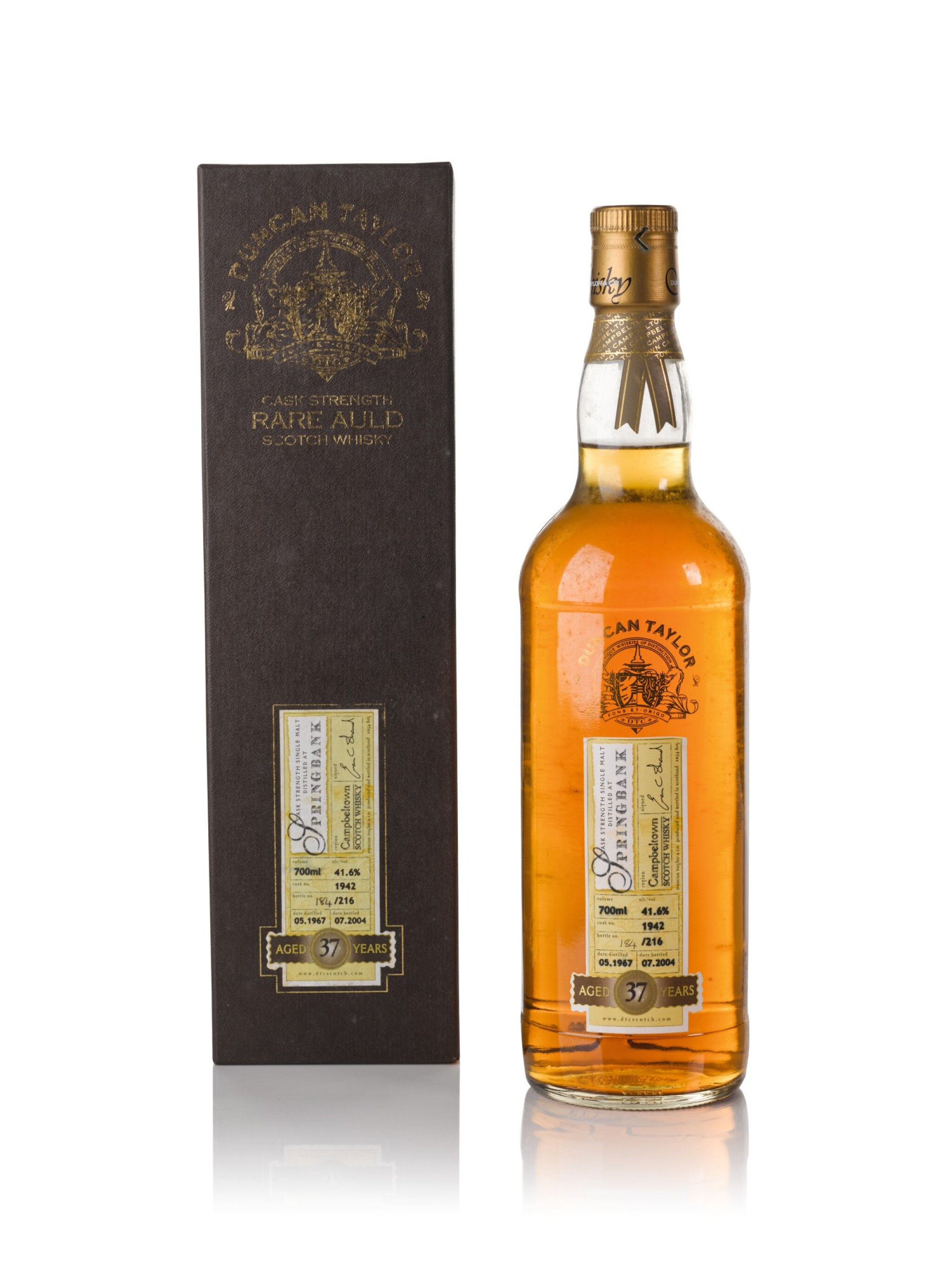 View full screen - View 1 of Lot 142. Springbank Duncan Taylor 37 Year Old 41.6 abv 1967 .