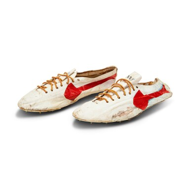 View 1. Thumbnail of Lot 8. Bill Bowerman (Nike Co-Founder) Handmade Prototype Logo Track Spikes With Waffle Sole.