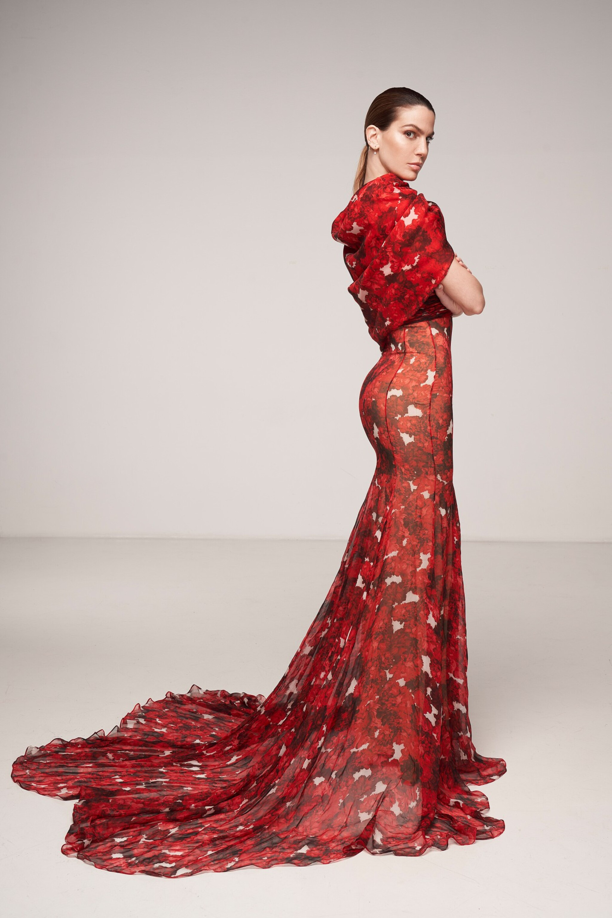 View 1 of Lot 37. Haute Couture Floral Printed Silk Chiffon and Gazar Evening Gown.