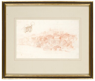 View 5. Thumbnail of Lot 129. Recto and Verso: A View Along the River Tiber.
