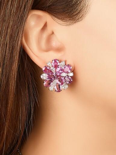View 3. Thumbnail of Lot 1700. Pair of Pink Sapphire and Diamond Earrings | 格拉夫 | 粉紅剛玉 配 鑽石 耳環一對.