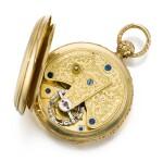 IGNAZ RUZICZKA, IN WIEN [Ignaz Ruziczka,維也納] | A VERY FINE AND RARE GOLD OPEN-FACED ONE-MINUTE TOURBILLON WATCH WITH CHRONOMETER ESCAPEMENT AND RÉAUMUR THERMOMETER  CIRCA 1840 [極罕有黃金一分鐘陀飛輪懷錶備天文鐘擒縱系統及列氏溫度計,年份約1840]