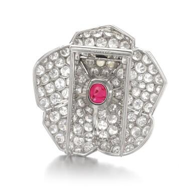 View 3. Thumbnail of Lot 601. Cartier | Ruby and diamond brooch, circa 1937 | 卡地亞 | 紅寶石配鑽石別針, 約1937年.