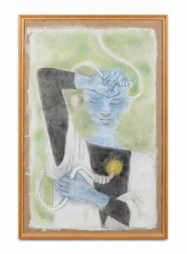 View 2. Thumbnail of Lot 34. JEAN COCTEAU. Astrologue III. Le Feu. [1954]. Technique mixte sur isorel. 120 x 77 cm..