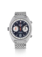HEUER | CARRERA, REF 1153 N STAINLESS STEEL CHRONOGRAPH WRISTWATCH WITH DATE AND BRACELET CIRCA 1970