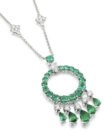 View 1. Thumbnail of Lot 298. GRAFF   EMERALD AND DIAMOND NECKLACE, 'GYPSY'.