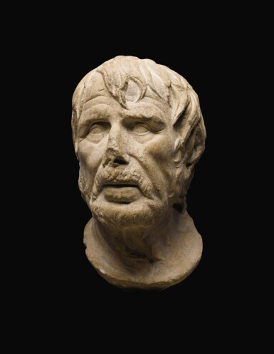 View 4. Thumbnail of Lot 39. A ROMAN MARBLE HEAD OF A GREEK POET, PROBABLY HESIOD, CIRCA 1ST CENTURY A.D..