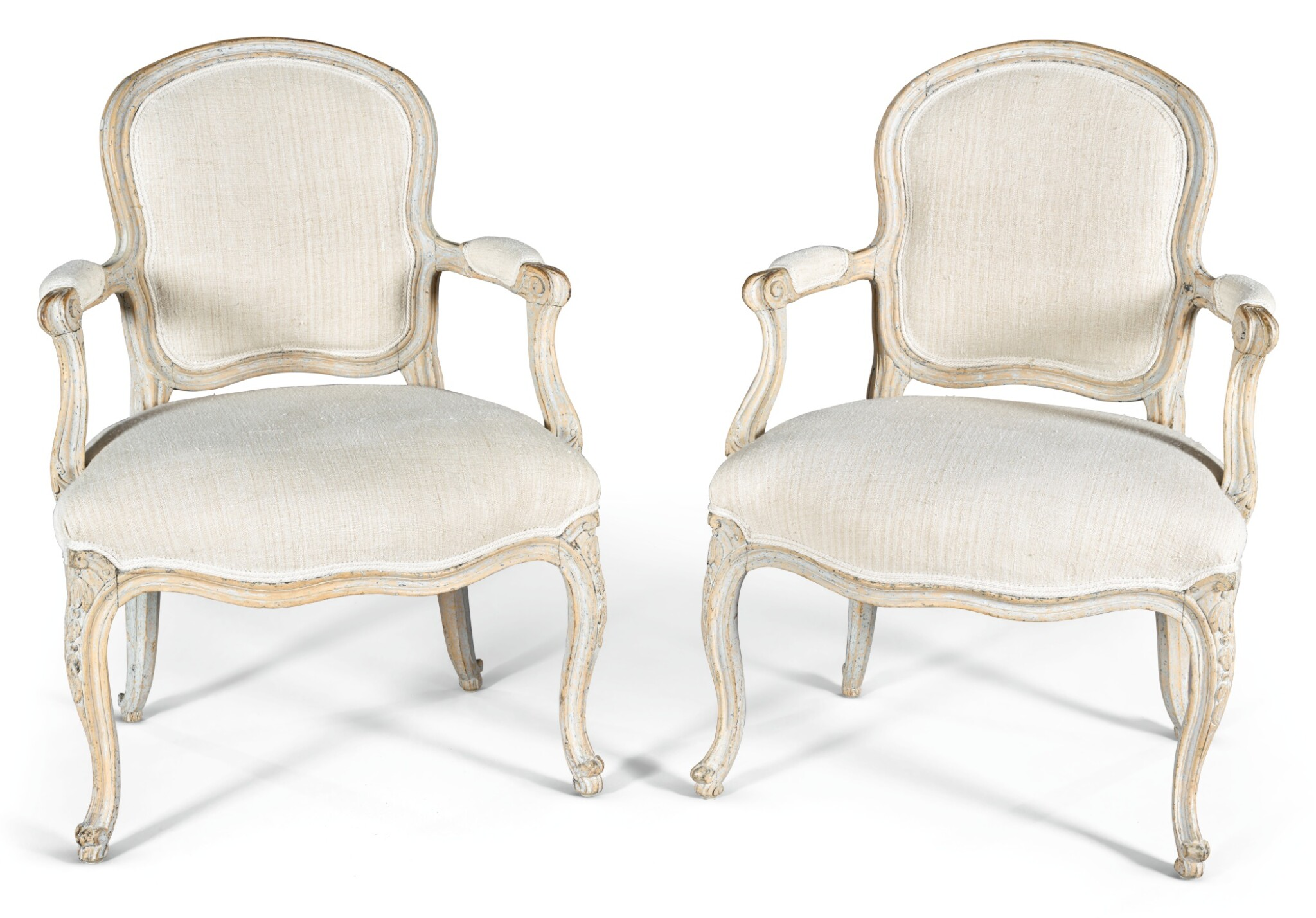 View 1 of Lot 191. A PAIR OF LOUIS XV PAINTED AND CARVED FAUTEUILS À LA REINE MID-18TH CENTURY, PROBABLY SWEDISH.