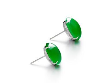 View 2. Thumbnail of Lot 1858. Pair of Imperial Green Jadeite Earrings | 天然「帝王綠」翡翠耳環一對.