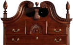 VERY FINE AND RARE CHIPPENDALE CARVED AND PUNCH-DECORATED CHERRYWOOD BONNET-TOP CHEST-ON-CHEST, SAMUEL LOOMIS SHOP TRADITION, PROBABLY COLCHESTER, CONNECTICUT, CIRCA 1780