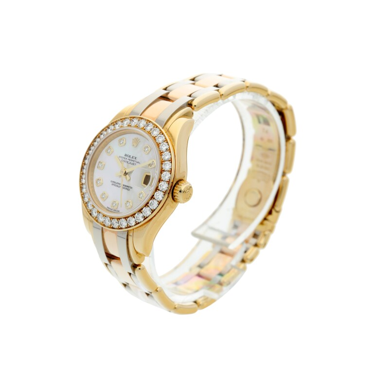 Datejust Pearlmaster, Reference 80298  A Tri-Color Gold and Diamond-set Automatic Wristwatch with Date, Bracelet and Mother of Pearl Dial, circa 2007
