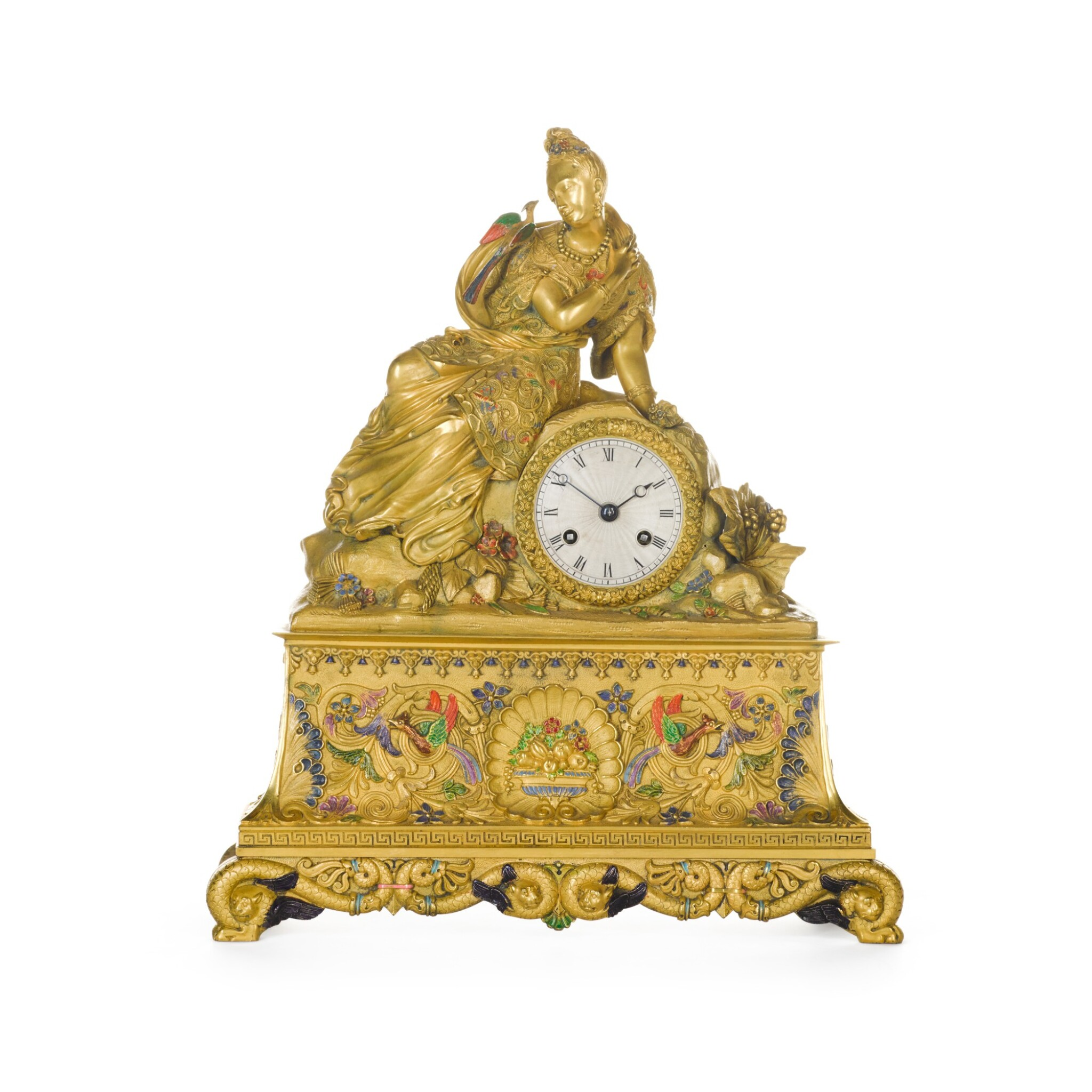 View full screen - View 1 of Lot 65. A FRENCH CHINOISERIE GILT-BRONZE AND POLYCHROME DECORATED MANTEL CLOCK, CIRCA 1830.