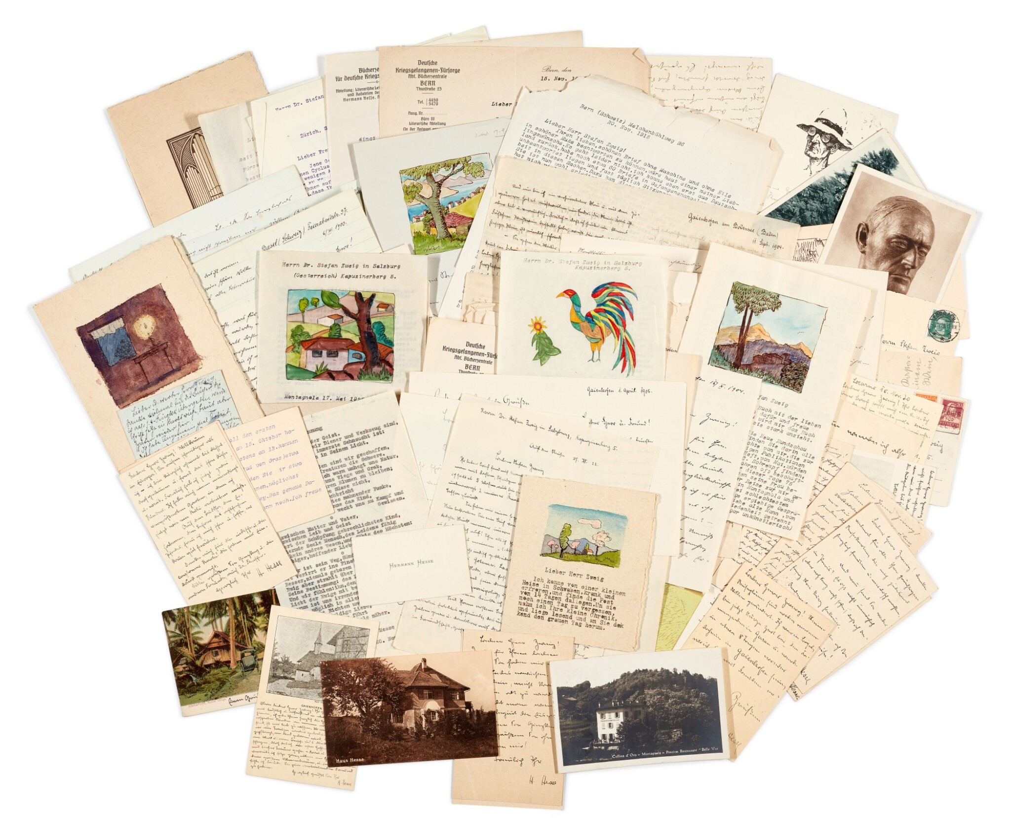View full screen - View 1 of Lot 62. Hermann Hesse | Highly important series of 62 letters and postcards to Stefan Zweig, 1903-1938.
