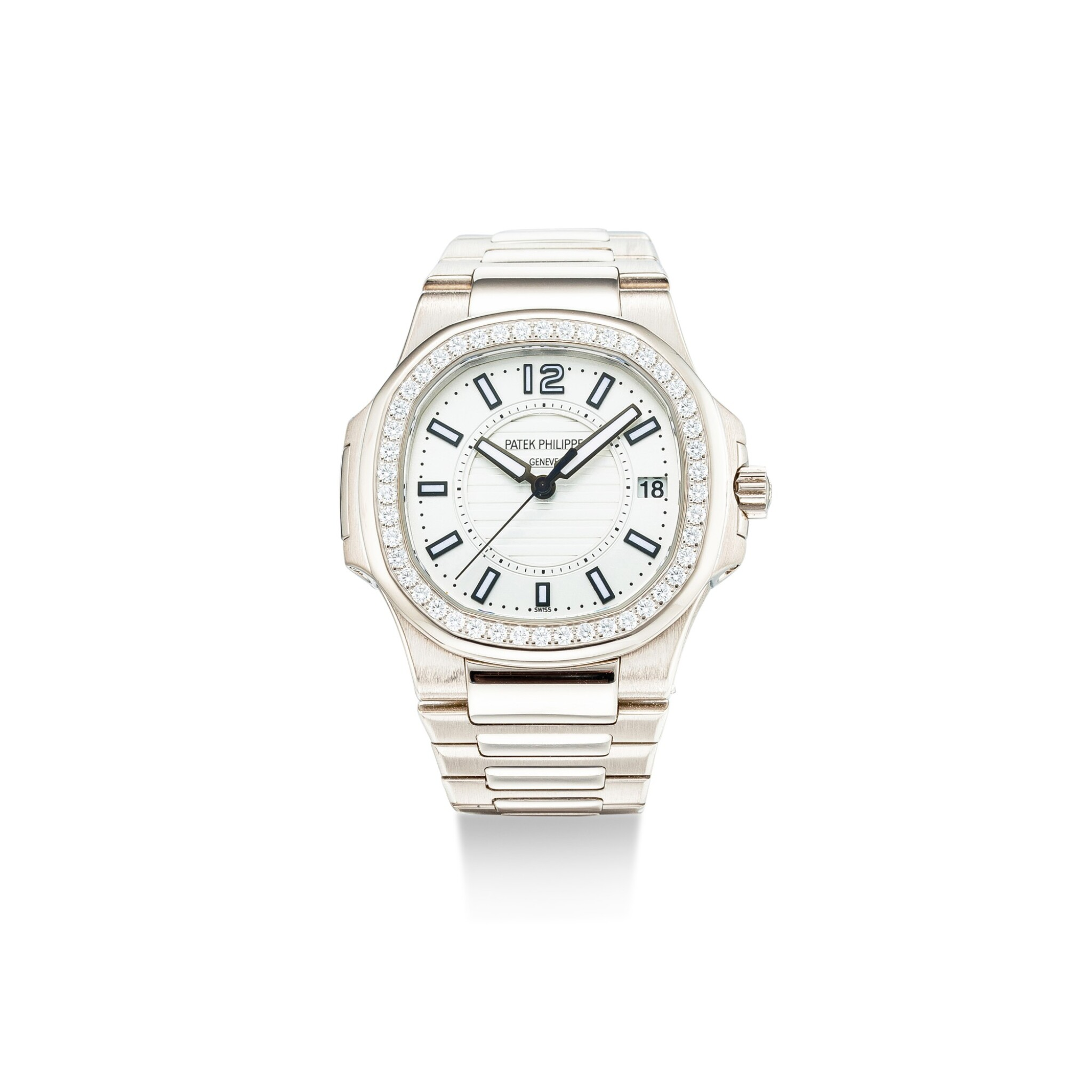 View full screen - View 1 of Lot 105. PATEK PHILIPPE | NAUTILUS, REFERENCE 7010, A WHITE GOLD AND DIAMOND-SET BRACELET WATCH WITH DATE, CIRCA 2008.