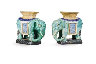 CHINA, 20TH CENTURY [CHINE, XXE SIÈCLE]   A PAIR OF STONEWARE ELEPHANT-SHAPE STANDS [PAIRE D'ÉLÉPHANTS FORMANT SOCLES EN GRÈS ÉMAILLÉ]