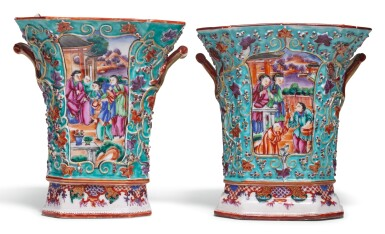 A PAIR OF FAMILLE-ROSE BOUGH POTS AND COVERS QING DYNASTY, QIANLONG PERIOD
