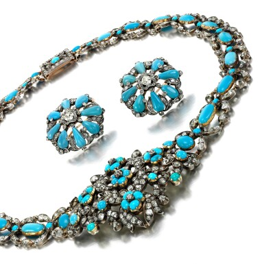 View 1. Thumbnail of Lot 78. Turquoise and diamond demi-parure, 1840s and later.