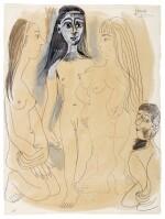Trois nus debout et personnage