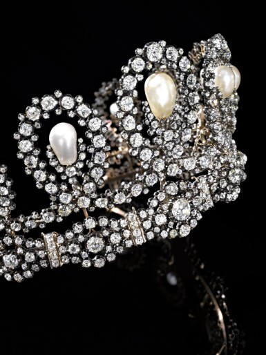 View 12. Thumbnail of Lot 180. Musy | Magnificent and Historic Natural pearl and diamond tiara/necklace, second half of the 19th century | Musy | 天然珍珠配鑽石王冠/項鏈,十九世紀下半葉,具歷史價值.