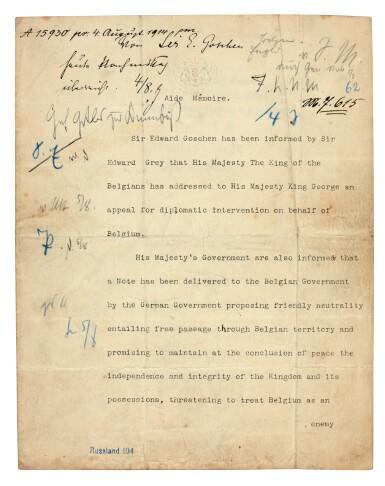 View 1. Thumbnail of Lot 134.  WORLD WAR I--GOSCHEN | typescript document to Von Jagow, the German Foreign Minister, 4 August 1914.
