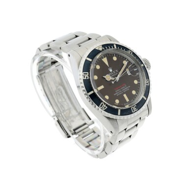 View 4. Thumbnail of Lot 126. REFERENCE 1680 SUBMARINER A STAINLESS STEEL AUTOMATIC WRISTWATCH WITH DATE, BRACELET AND TROPICAL DIAL, CIRCA 1970.