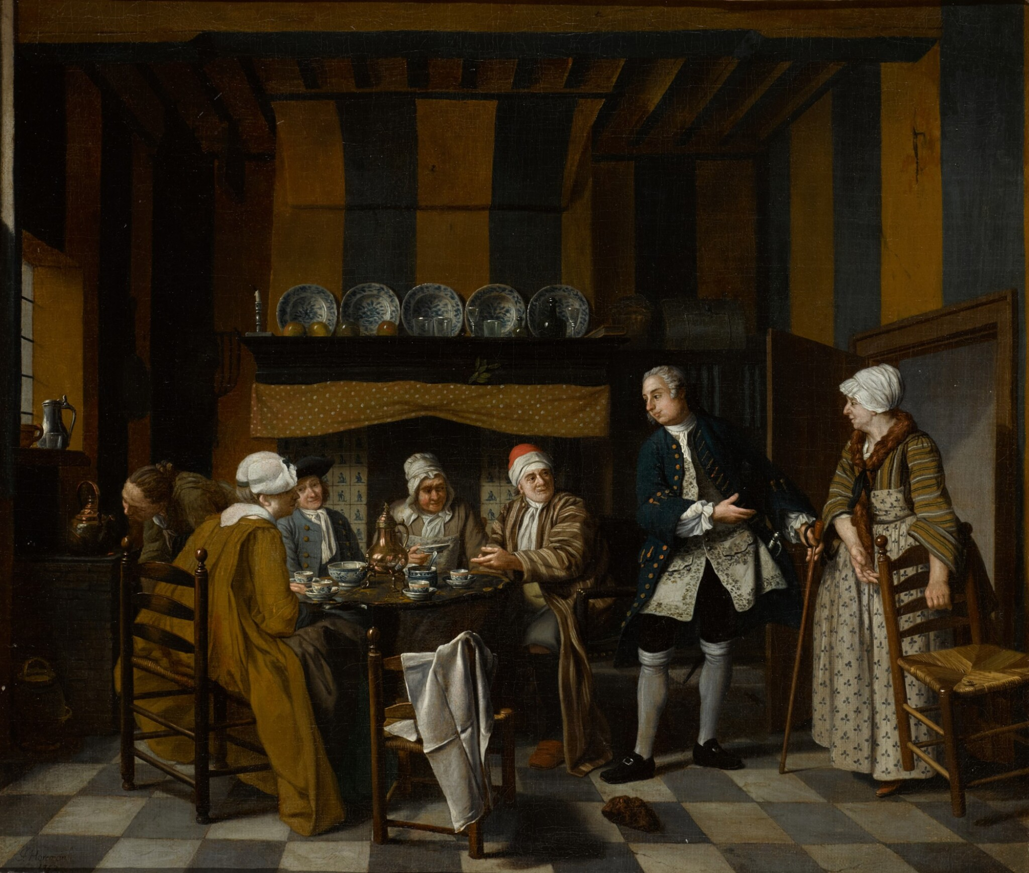 View full screen - View 1 of Lot 66. JAN JOSEF HOREMANS THE YOUNGER | An elegant interior with figures having a tea party.