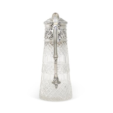 View 2. Thumbnail of Lot 107. A silver-mounted cut-glass decanter, St Petersburg, 1899-1908.