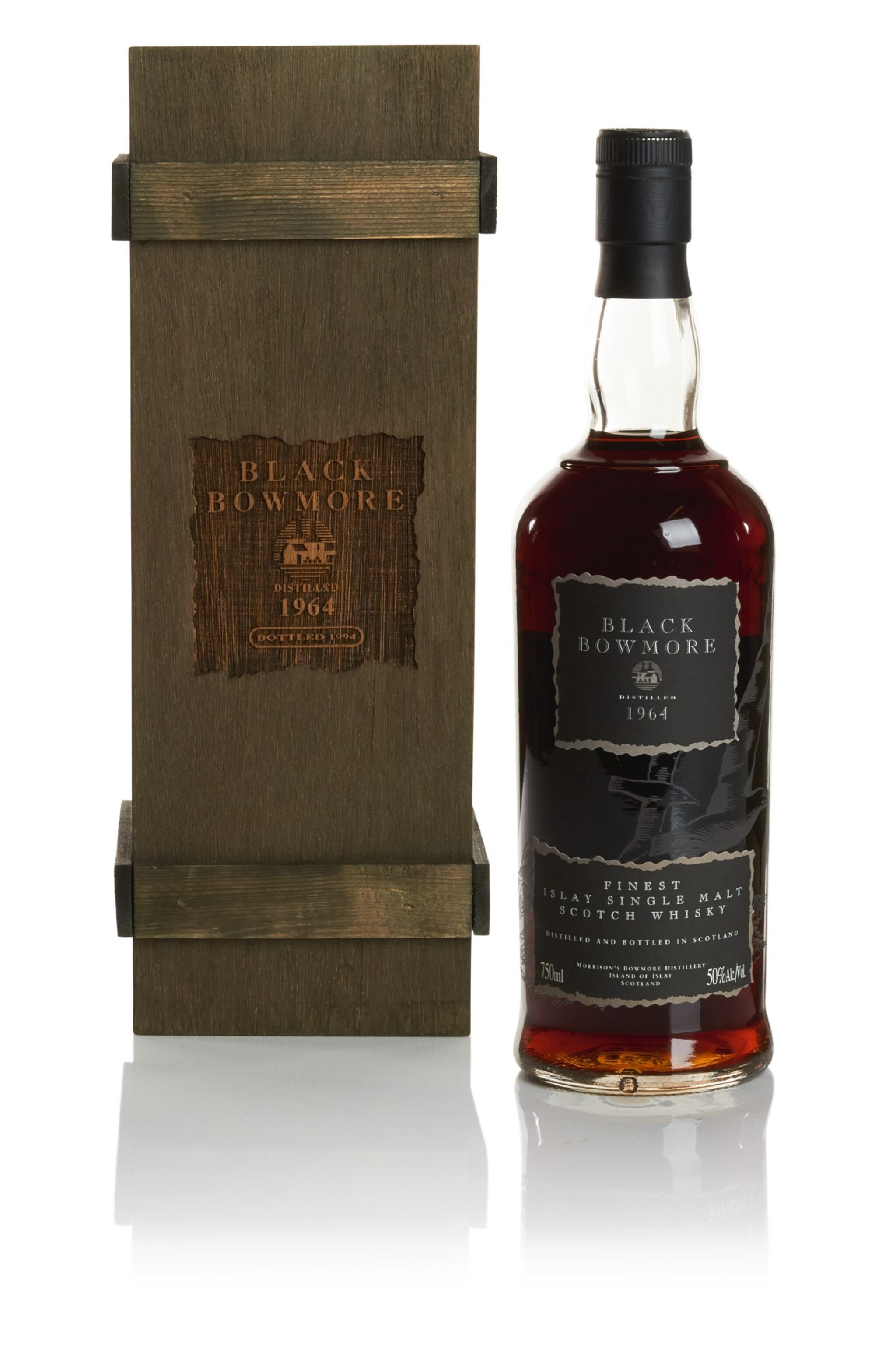 View full screen - View 1 of Lot 321.  BOWMORE BLACK SECOND RELEASE 50.0 ABV 1964  .