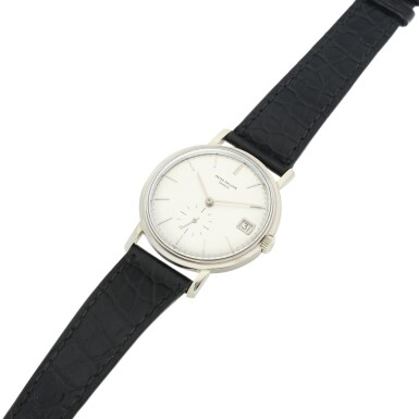 View 5. Thumbnail of Lot 145. REFERENCE 3541 A WHITE GOLD WRISTWATCH WITH DATE, MADE IN 1967.