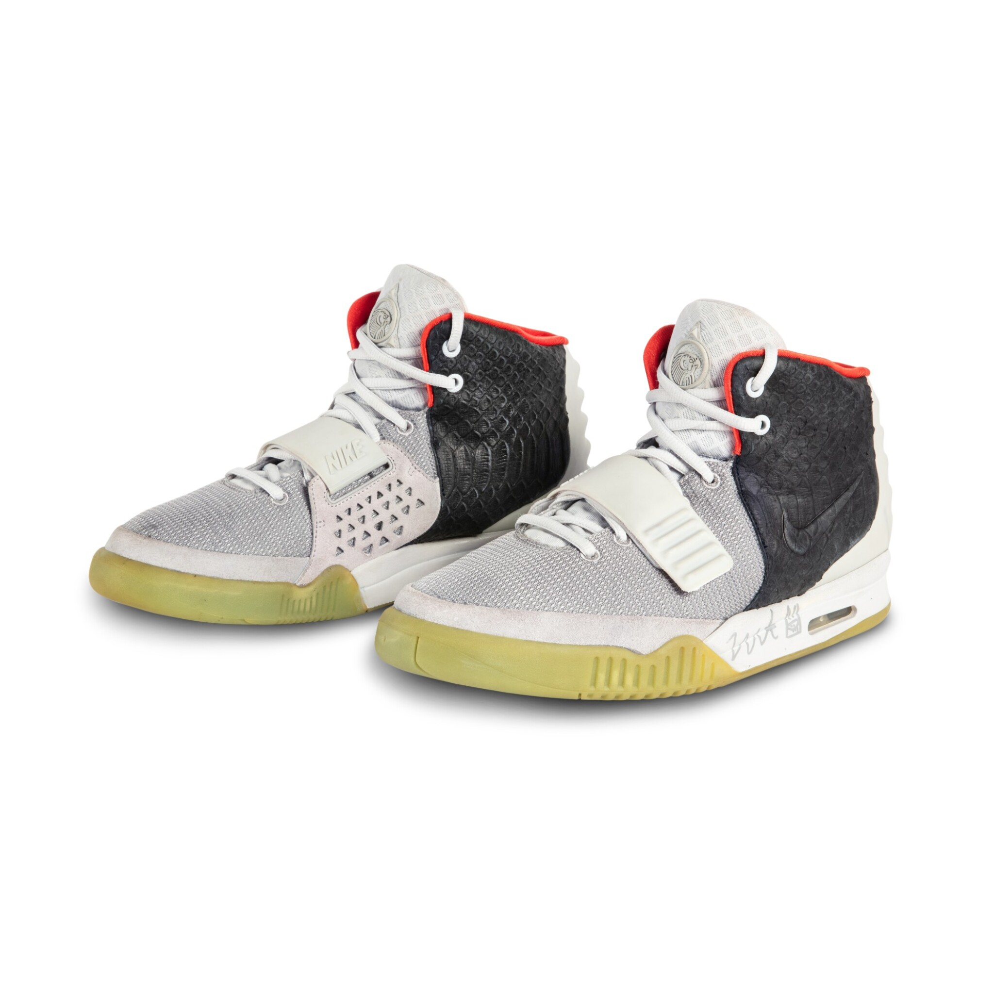 View full screen - View 1 of Lot 38. Nike Air Yeezy 2 'Mismatch' Sample Signed by Kanye West | Size 12.
