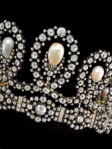 View 10. Thumbnail of Lot 180. Musy | Magnificent and Historic Natural pearl and diamond tiara/necklace, second half of the 19th century | Musy | 天然珍珠配鑽石王冠/項鏈,十九世紀下半葉,具歷史價值.