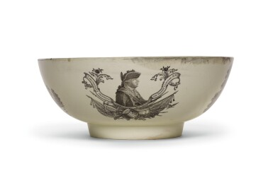 View 1. Thumbnail of Lot 136. A Wedgwood creamware transfer-printed commemorative punch bowl, late 18th century.