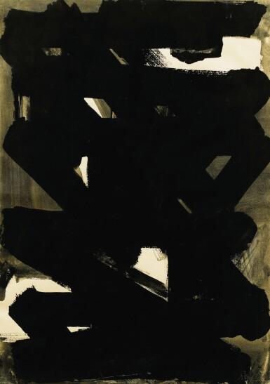 View 1. Thumbnail of Lot 9. PIERRE SOULAGES | GOUACHE 75 X 52,5 CM, 1958.