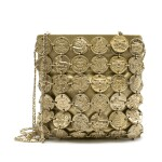 CHANEL | GOLD METIERS D'ART MEDALLION CHAIN BAG IN GOLD TONE METAL OVER GOLD LEATHER POUCH, 2018
