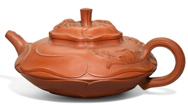 View 1. Thumbnail of Lot 32. A 'YIXING' 'LOTUS LEAF' TEAPOT AND COVER.