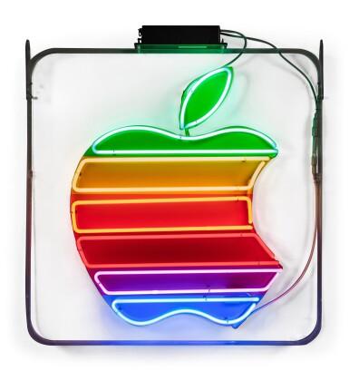 View 2. Thumbnail of Lot 84. Original Neon Rainbow Apple Logo Sign.