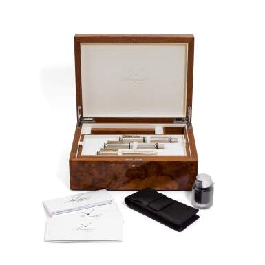 View 3. Thumbnail of Lot 141. A set of 3 sterling silver and sapphire-set pens, made by Montegrappa for Breguet..