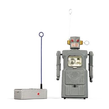 View 4. Thumbnail of Lot 287. A rare TM (Masudaya) battery-operated tin-plate Radicon Robot, Japan, circa 1958.