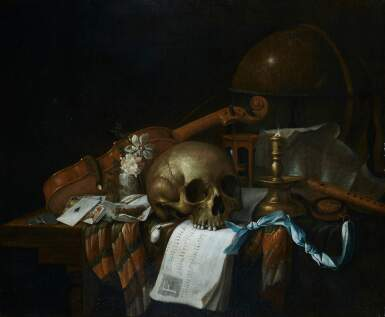CORNELIS NORBERTUS GYSBRECHTS | VANITAS STILL LIFE WITH A SKULL, SHEET MUSIC, VIOLIN, GLOBE, CANDLE, HOURGLASS AND PLAYING CARDS, ALL ON A DRAPED TABLE