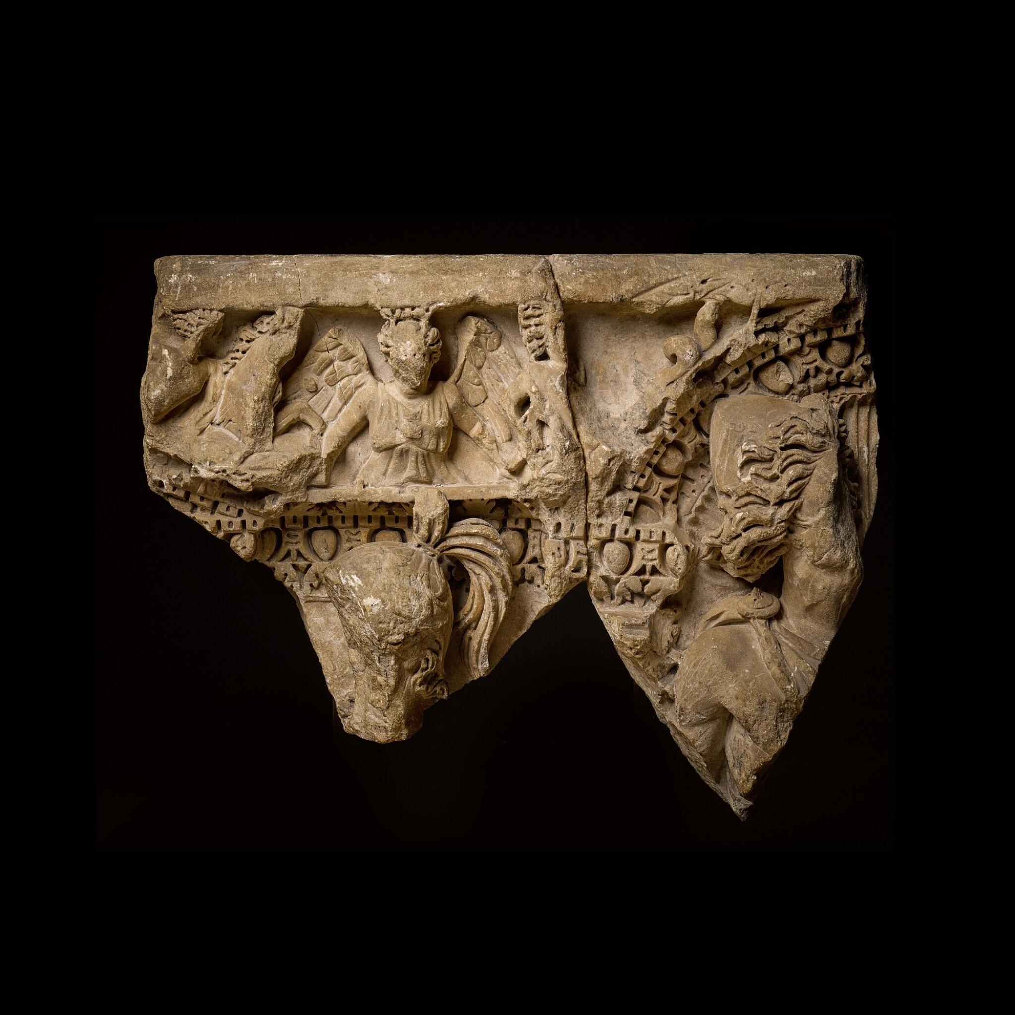 View full screen - View 1 of Lot 84. A Roman Marble Column Sarcophagus Fragment, Asia Minor, circa A.D. 250-260.