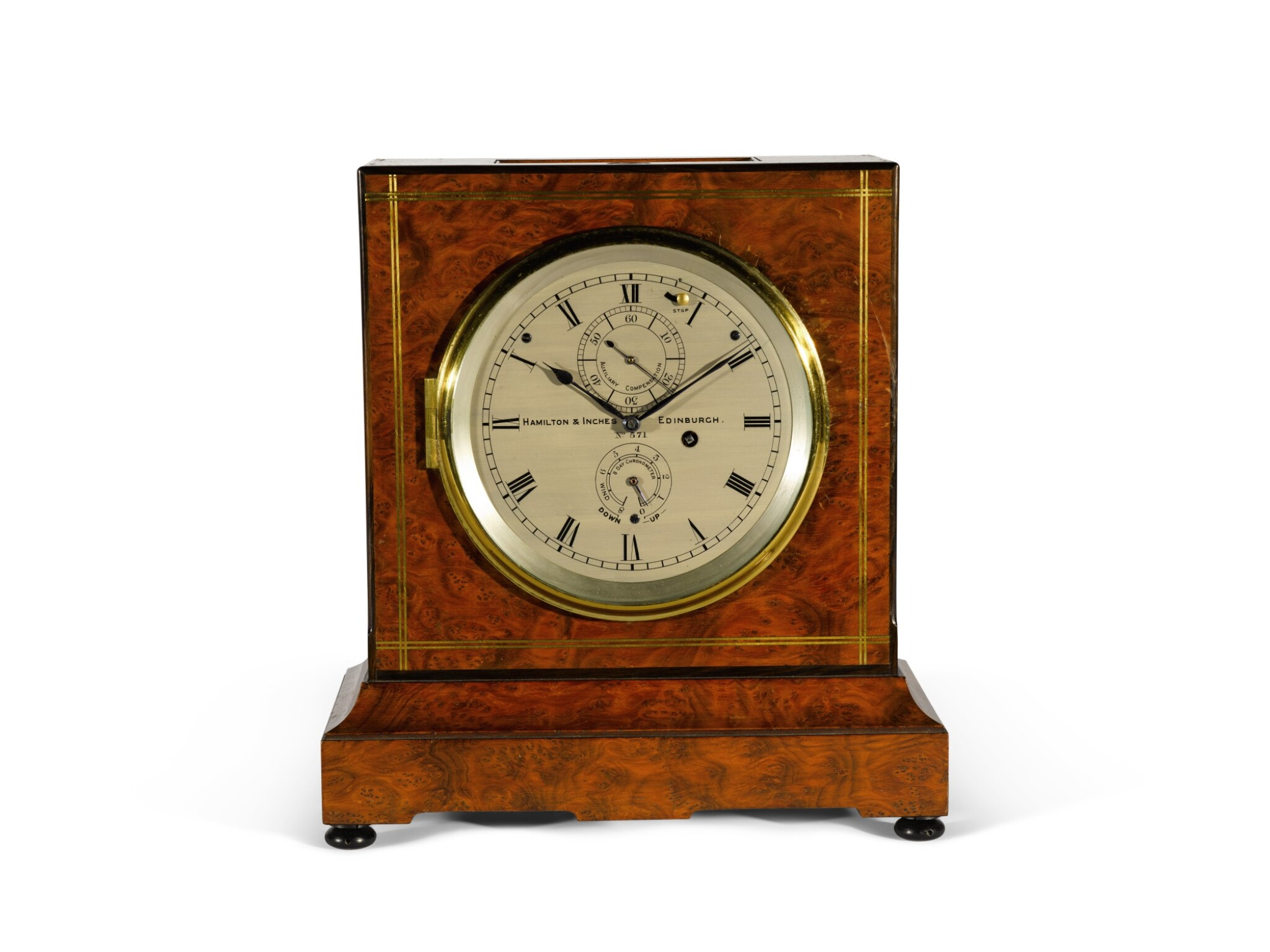 View full screen - View 1 of Lot 137. Thomas Mercer No.571. A burr-walnut 8-day mantel chronometer retailed by Hamilton & Inches, Edinburgh, circa 1920.