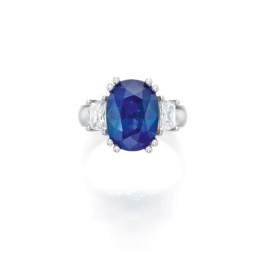 View 1. Thumbnail of Lot 45. Sapphire and Diamond Ring.