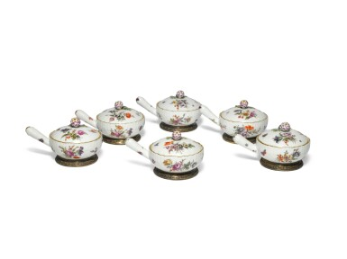 View 1. Thumbnail of Lot 118. A Set of Six Berlin Pan-Form Condiment Boxes and Covers, with Silver-Gilt Mounts, Circa 1760, the Mounts Circa 1900.